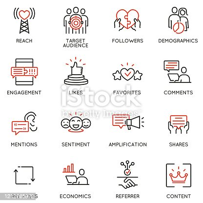Vector set of linear icons related to influence marketing and social media promotion services. Mono line pictograms and infographics design elements - part 5