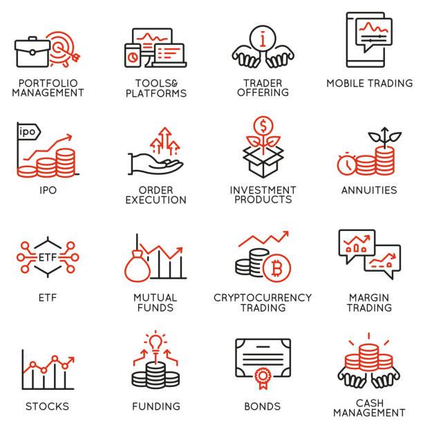 stockillustraties, clipart, cartoons en iconen met vector set van lineaire iconen met betrekking tot investeringen, financieel advies en business management. mono line pictogrammen en infographics design elementen-deel 4 - aandelen