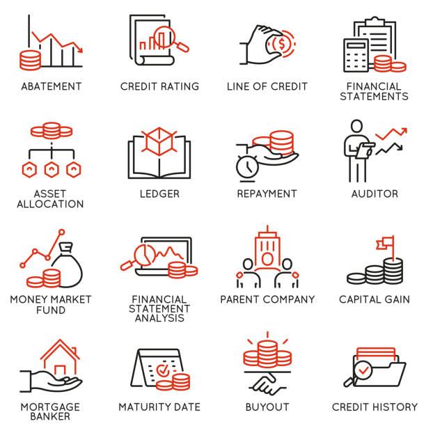 ilustrações, clipart, desenhos animados e ícones de jogo do vetor de ícones lineares relacionados ao investimento, ao conselho financeiro e à gerência de negócio. mono linha pictograma e elementos do projeto do infográficos-parte 1 - capitel
