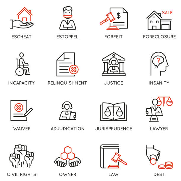 Vector set of linear icons related to law, justice and litigation. Mono line pictograms and infographics design elements - part 3 Vector set of linear icons related to law, justice and litigation. Mono line pictograms and infographics design elements - part 3 punishment stock illustrations