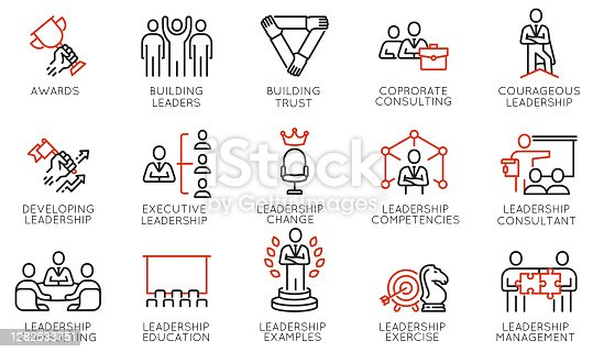 istock Vector Set of Linear Icons Related to Leadership Development, Categories, Executive and Education. Mono Line Pictograms and Infographics Design Elements 1282533751