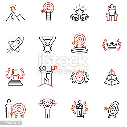 Vector set of linear icons related to leadership development, assertiveness, empowerment, skills. Mono line pictograms and infographics design elements - 2