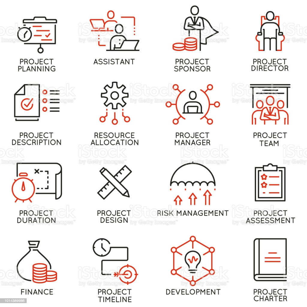 Vector Set Of Linear Icons Related To Project Management Mono Line