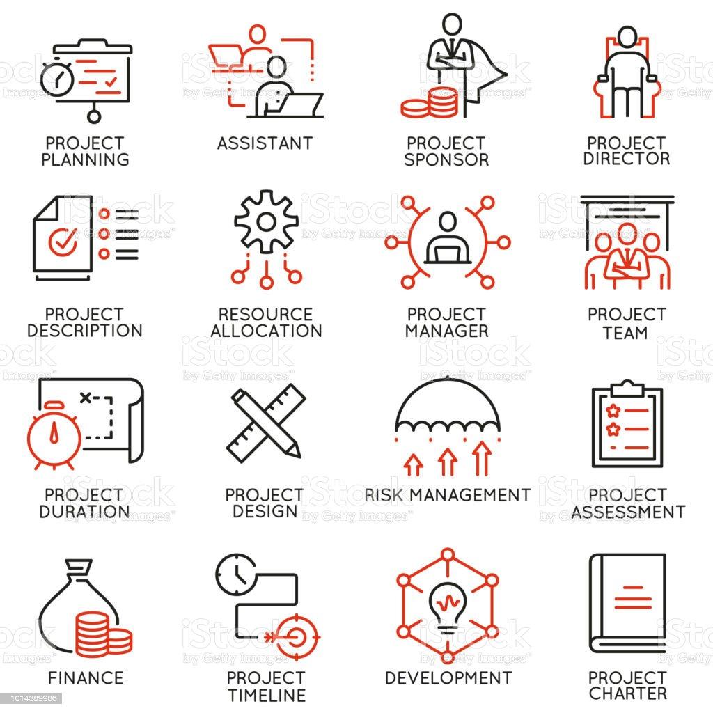 Conjunto de vetores de lineares ícones relacionados ao gerenciamento de projetos. Infográficos e pictogramas de linha mono design elementos - parte 2 - ilustração de arte em vetor
