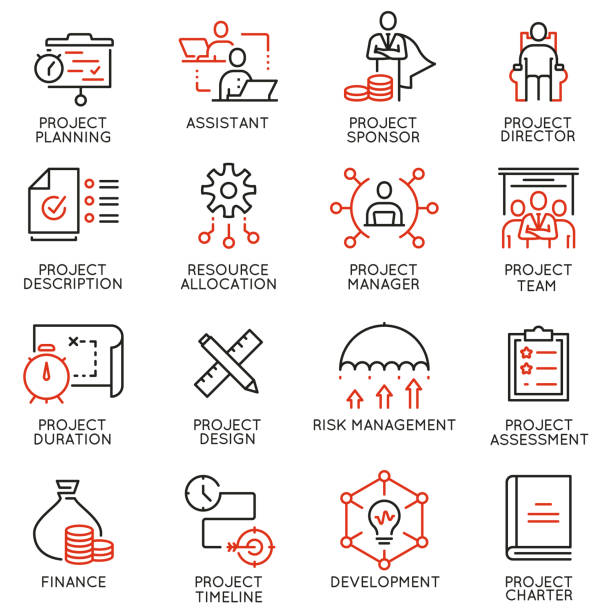 illustrazioni stock, clip art, cartoni animati e icone di tendenza di vector set of linear icons related to project management. mono line pictograms and infographics design elements - part 2 - project
