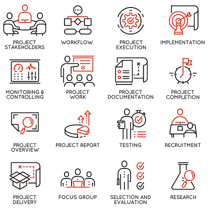 Vector Set Of Linear Icons Related To Project Management