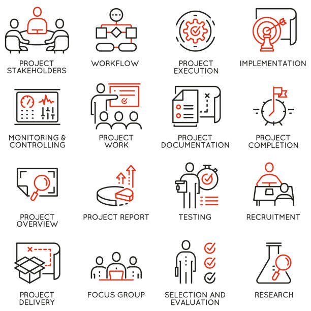 vector set of linear icons related to project management. mono line pictograms and infographics design elements - part 3 - group of people stock illustrations