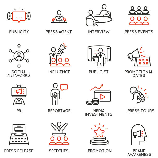 Vector set of linear icons related to public relations, review, journalism, online news. Mono line pictograms and infographics design elements Vector set of linear icons related to public relations, review, journalism, online news. Mono line pictograms and infographics design elements spokesperson stock illustrations