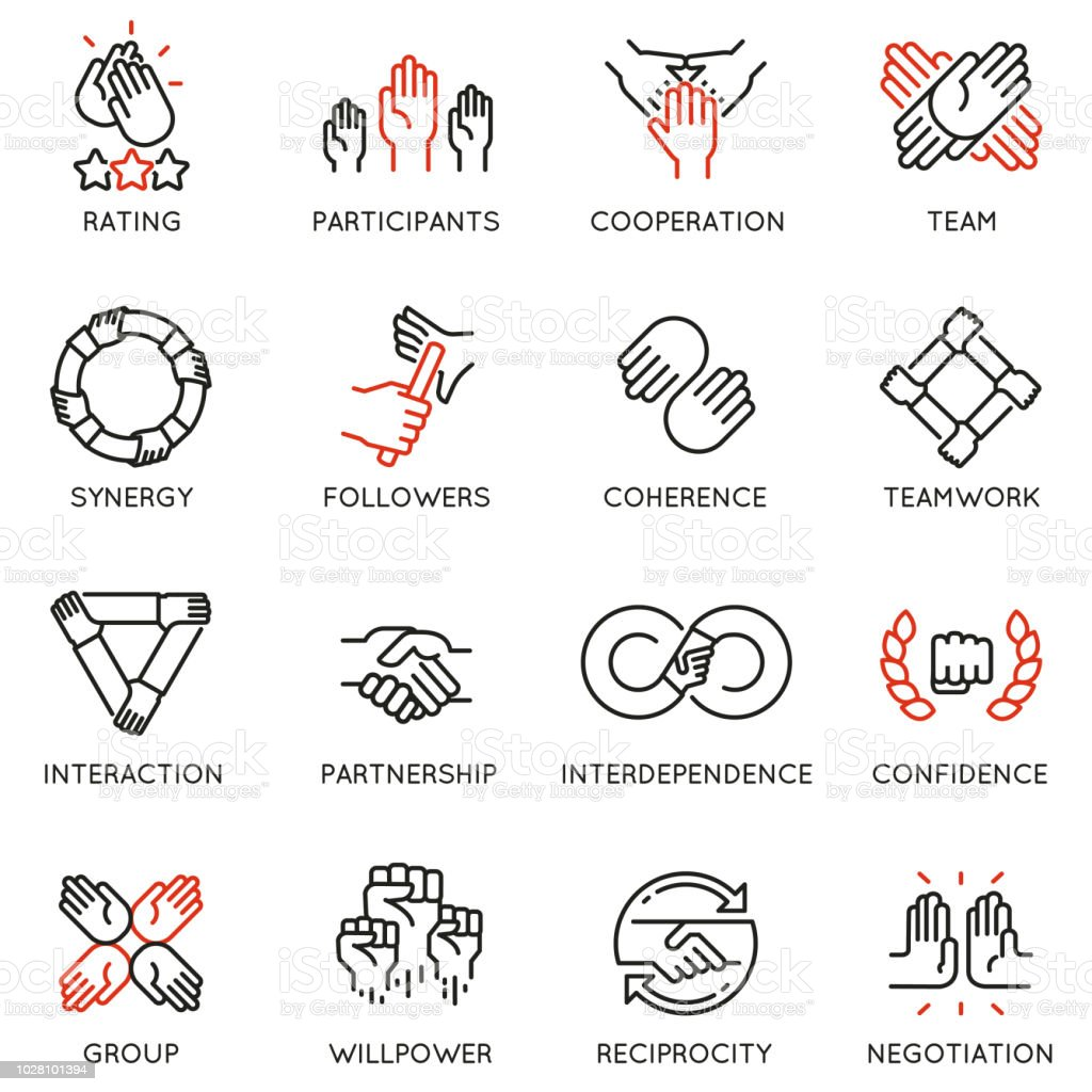 Vector set of linear icons related to relationship, team work and cooperation. Mono line pictograms and infographics design elements royalty-free vector set of linear icons related to relationship team work and cooperation mono line pictograms and infographics design elements stock illustration - download image now