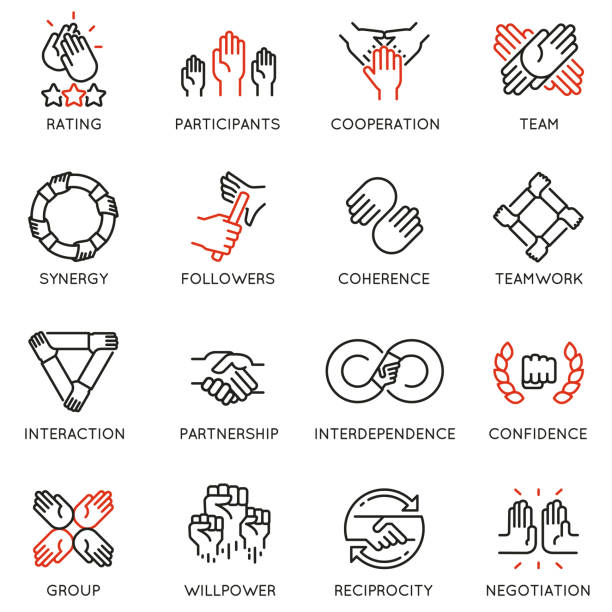 illustrazioni stock, clip art, cartoni animati e icone di tendenza di vector set of linear icons related to relationship, team work and cooperation. mono line pictograms and infographics design elements - cooperazione