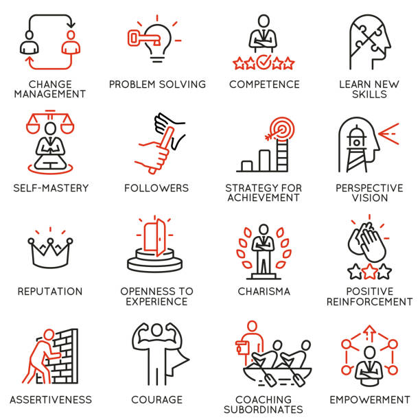 Vector set of linear icons related to skills, empowerment leadership development and qualities of a leader. Mono line pictograms and infographics design elements - part 6 Vector set of linear icons related to skills, empowerment leadership development and qualities of a leader. Mono line pictograms and infographics design elements - part 6 confidence stock illustrations