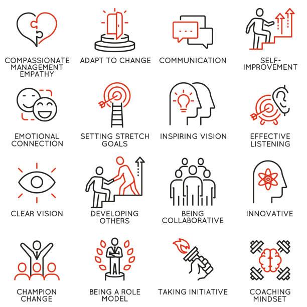 wektorowy zestaw liniowych ikon związanych z umiejętnościami, rozwojem przywództwa inicjacji i cechami lidera. piktogramy monoliniowe i elementy projektowe infografiki - część 7 - umiejętność stock illustrations