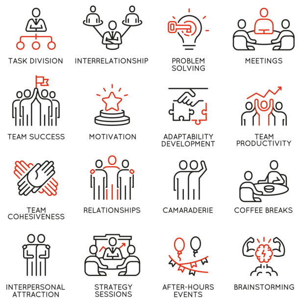 vector set of linear icons related to team work, team leader and human resource management. mono line pictograms and infographics design elements - part 2 - koordynacja stock illustrations