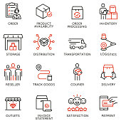 istock Vector Set of Linear Icons Related to Tracking Order, Shipping and Express Delivery Process. Mono line pictograms and infographics design elements 1225855460