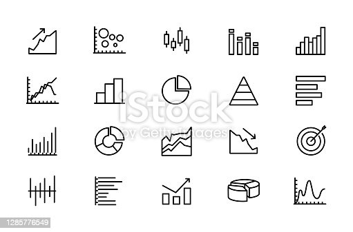 Vector set of linear icons related to trade service, analytics, stock indices, market segments, stock growth.