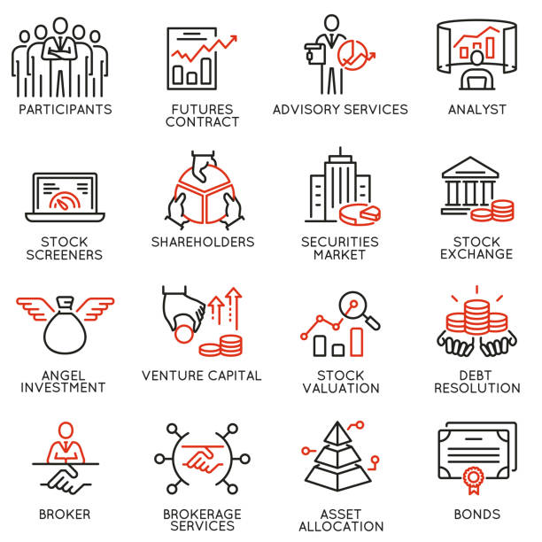 vector set of linear icons related to trade service, investment strategy and management. mono line pictograms and infographics design elements - part 2 - rich stock illustrations