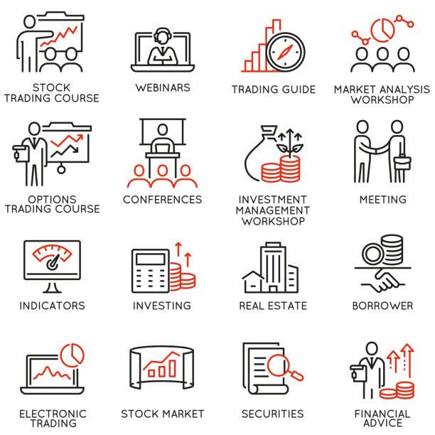 ilustraciones, imágenes clip art, dibujos animados e iconos de stock de conjunto de vectores de iconos lineales relacionados con el servicio comercial, estrategia de inversión y gestión. diseñan de infografías y pictogramas de línea mono elementos - parte 4 - corredor de bolsa