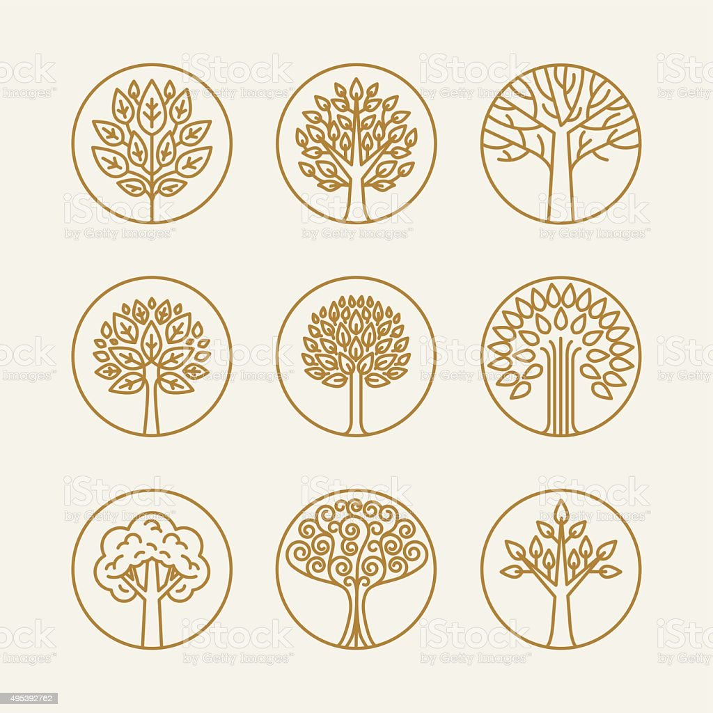 Vector set of linear icons vector art illustration