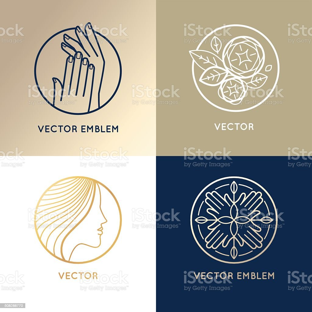Vector set of linear logo design templates and icons vector art illustration