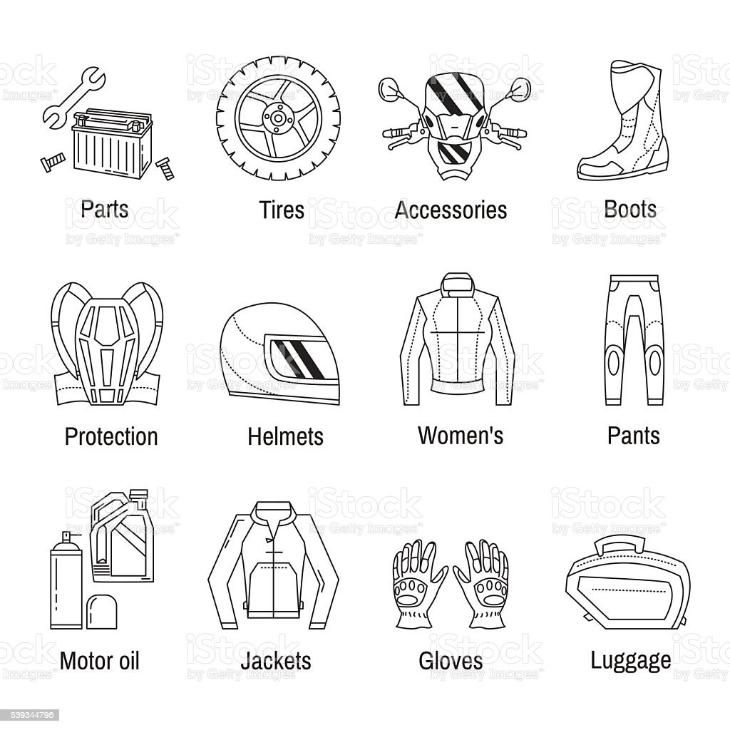 Vector Set Of Linear Motorcycle Icons Stock Art More Images Diagram Engine Royalty Free