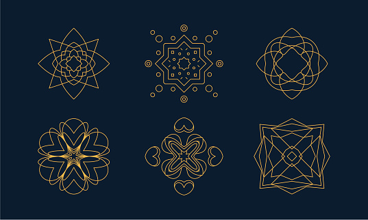 Vector Set Of Linear Style Monogram, Logo Design Templates Isolated On Background. Emblems For Company Logotype, Luxury Boutiques, Jewelry Shops.