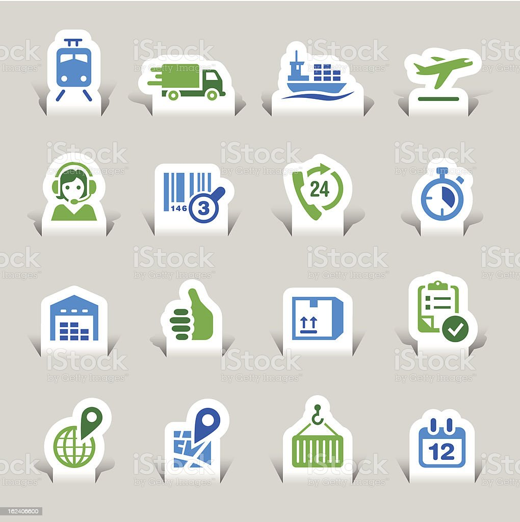 Vector set of logistic and shipping icons royalty-free stock vector art