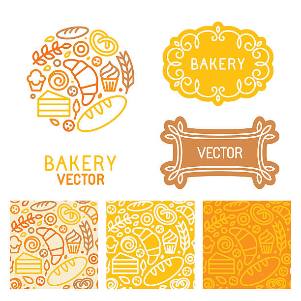 Vector set of logo design elements with icons Vector set of logo design elements with icons in trendy linear icons and seamless patterns - abstract emblem for bakery, coffee shop, confectionery or sweet-shop - fresh and tasty food bread borders stock illustrations