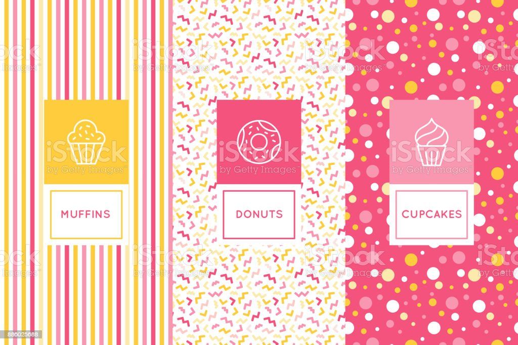 Vector set of logo design templates and seamless patterns in flat linear style for packaging vector art illustration