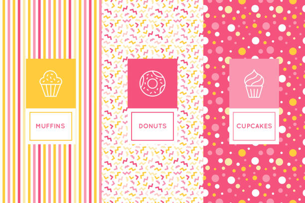 Vector set of logo design templates and seamless patterns in flat linear style for packaging Vector set of logo design templates and seamless patterns in flat linear style for packaging - sweet cupcakes - emblems for confectionery store, bakery and cafe cake patterns stock illustrations