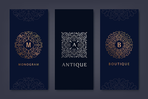 Vector set of logo design templates, brochures, flyers, packaging design in trendy linear style with flowers and leaves. Use for luxury products, wedding invitations, organic cosmetics
