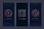 Vector set of logo design templates, brochures, flyers, packaging design in trendy linear style with flowers and leaves. Use for luxury products, wedding invitations, organic cosmetics, wine packaging