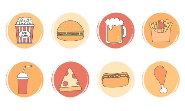 vector set of logo design templates, icons and badges for social media highlights with cute fast food elements - burger and chicken stock illustrations
