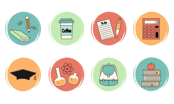 vector set of logo design templates, icons and badges for social media highlights with cute school elements - post it notes stock illustrations