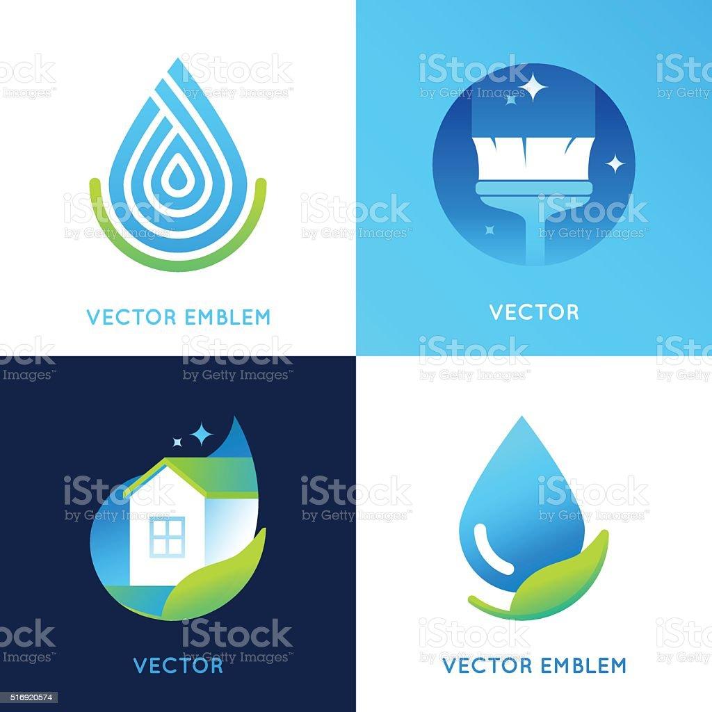 Vector set of logo design templates in bright gradient colors vector art illustration