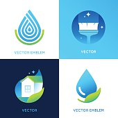 Vector set of logo design templates in bright gradient colors
