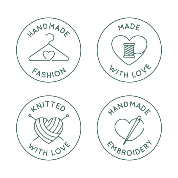Vector set of logo design templates in simple linear style - handmade fashion and crafts badges vector art illustration