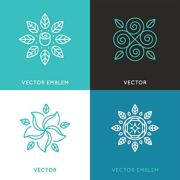Vector set of logo design templates in trendy linear style vector art illustration