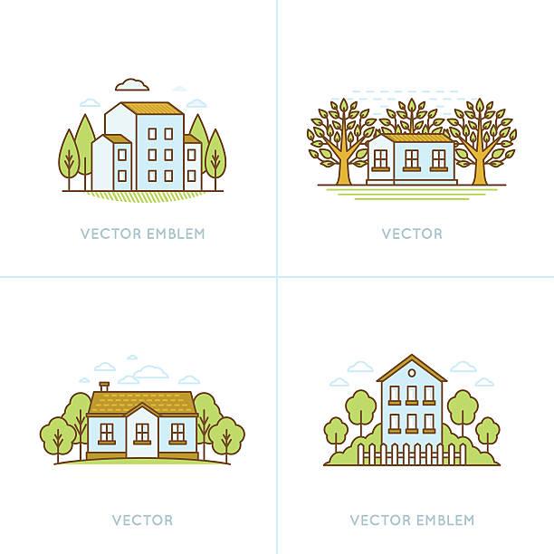 vektor-satz von logo-design-vorlagen - landhaus stock-grafiken, -clipart, -cartoons und -symbole