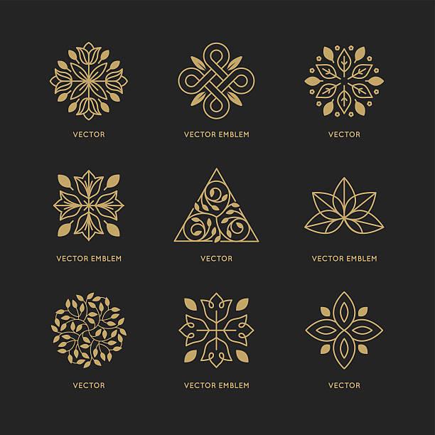 ilustrações, clipart, desenhos animados e ícones de vector conjunto de modelos de design do logotipo - lotus