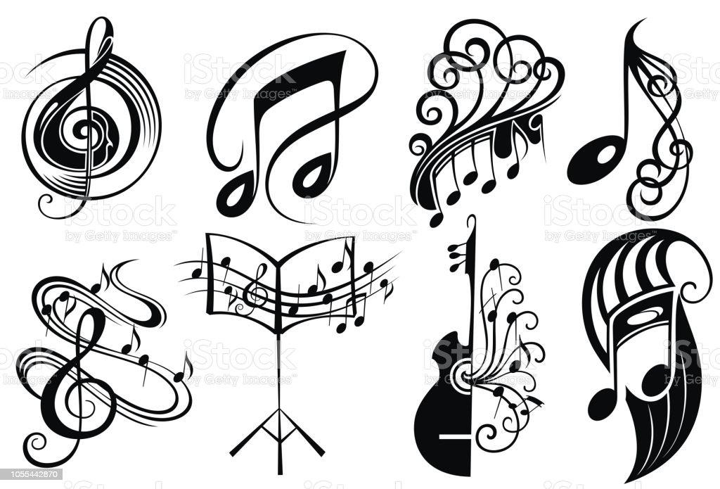Vecteur Série De Musique De Logo Conception De Tatouage ...