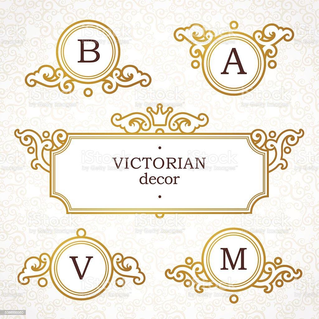 Famosos Conjunto De Vetor Logotipo Modelo Em Estilo Vitoriano - Arte  BA84