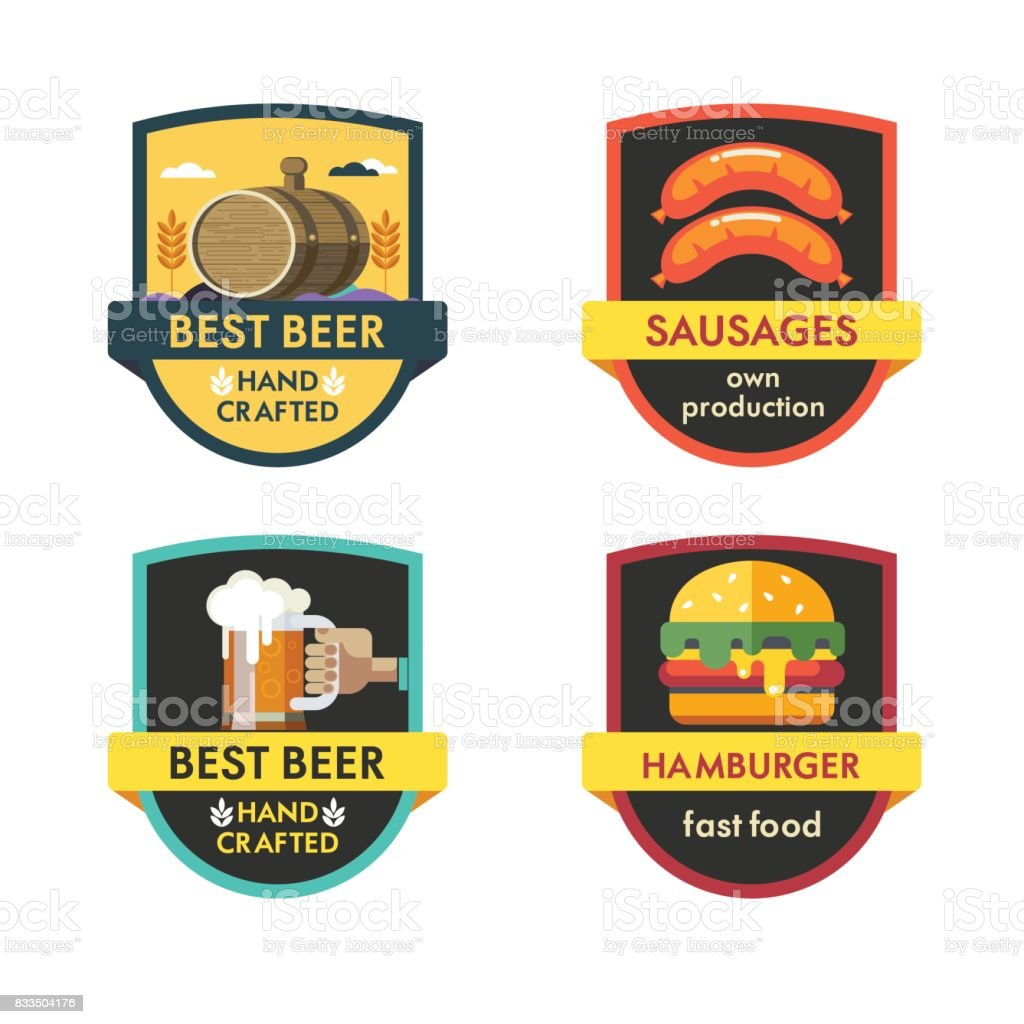 Vector Set Of Logos The Best Beer Burger Sausage Stock Illustration Download Image Now Istock