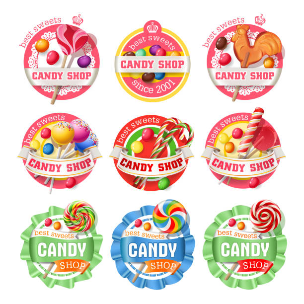 Vector set of lollipop logos, stickers Vector set of lollipop, candy logos, stickers, made in a realistic style candy borders stock illustrations