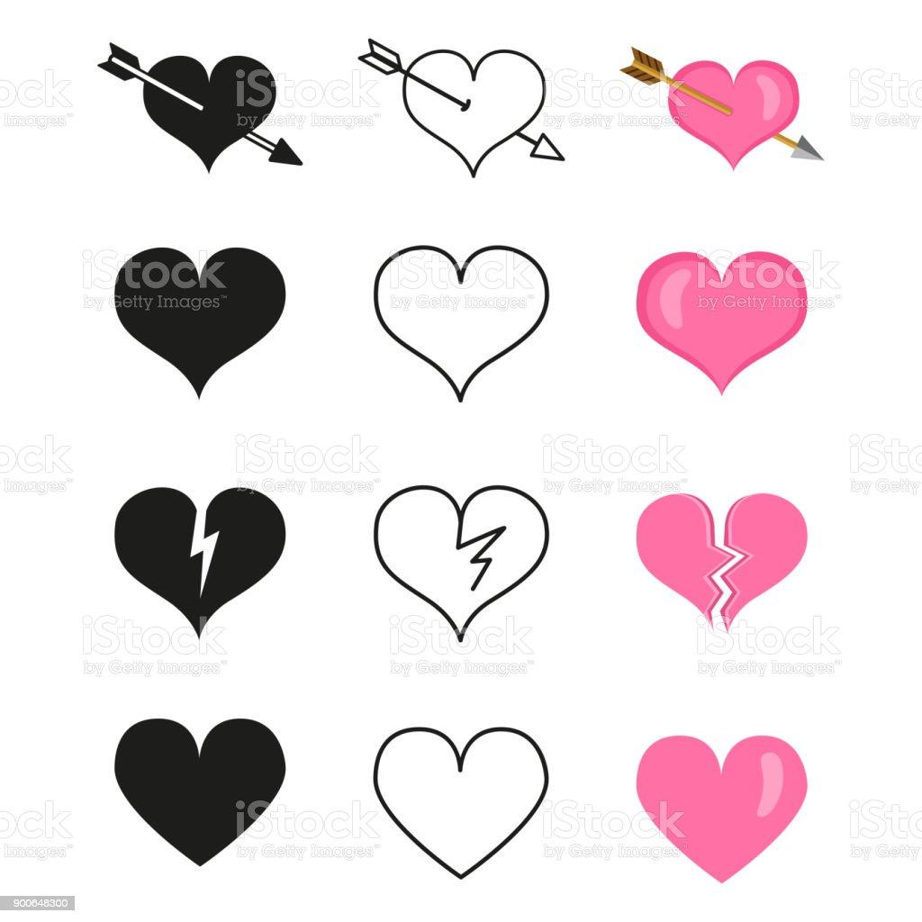 Vektör Aşk Simgeler Kümesi Farklı Kalp şekilleri Stok Vektör Sanatı