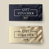 Vector set of luxury gift vouchers. Elegant template for a festive gift card, coupon and certificate. Discount Coupon Template. Vector Illustration EPS10