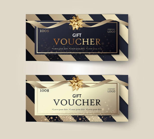Vector set of luxury gift vouchers with ribbons and gift box. Elegant template for a festive gift card, coupon and certificate. Discount Coupon Template Vector Illustration EPS10 Vector set of luxury gift vouchers with ribbons and gift box. Elegant template for a festive gift card, coupon and certificate. Discount Coupon Template Vector Illustration EPS10 coupon stock illustrations