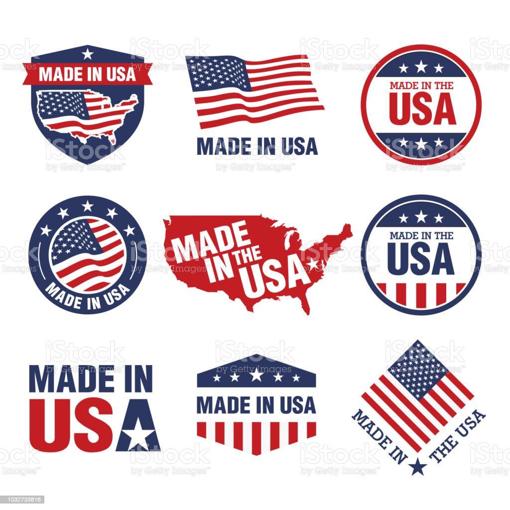 Vektor-Set von hergestellt in den USA-Beschriftungen – Vektorgrafik