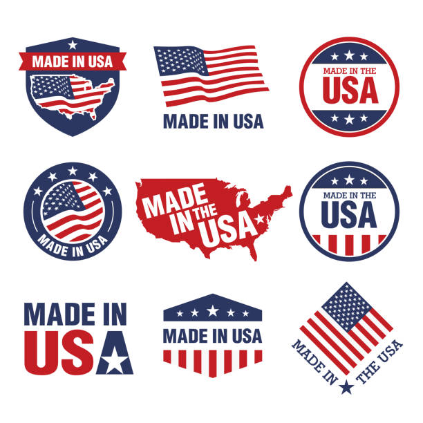 vector set of made in the usa labels - american flag stock illustrations