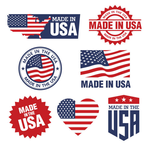 vector set of made in the usa labels - wykonać stock illustrations
