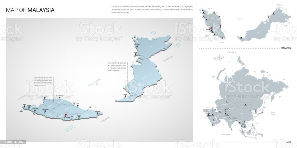 Vector Set Of Malaysia Country Isometric 3d Map Malaysia Map ...